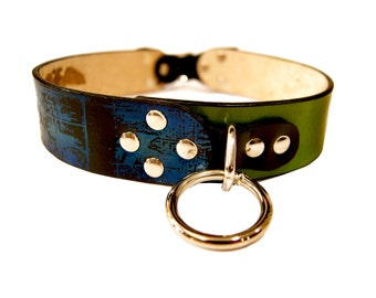 Leather Dog Collar - Screen Printed Flying Birds