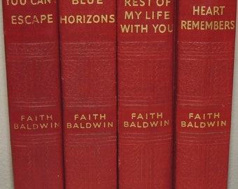FOUR Vintage RED Hardback Volumes Midcentury Novels by Faith Baldwin Decorator Books Instant Collection Staging Props