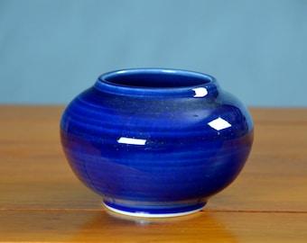 Blue Ceramic Vase, Hand Thrown Porcelain Pottery, Succulent Planter, Wedding, Bathroom Storage, Unique Gift, Incense Burner Caldwell Pottery