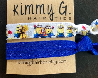 Set of minion elastic hair ties. Party favors, foe, minion party favors