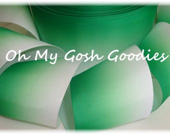 "EMERALD Green * BASIC * OMBRE Cheer Grosgrain Ribbon Hairbow Supplies - 1.5"", 2 1/4"", 3"" Width - 5 Yards - Oh My Gosh Goodies"