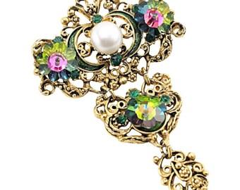 Vintage Crystal Jewelry, Swarovski Crystal Brooch, Victorian Revival Vintage Brooch Pin, Vintage Jewelry, Watermelon Crystal, Gift For Women