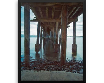 Pillar Point Harbor, Half Moon Bay, Under Romeo Pier, Black and White Photography, Landscape Photography, Fine Art Print, Wall Art