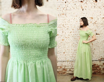 Vintage 1970s Snippy of California xs small pastel mint green smocked maxi dress / off the shoulder / hippie boho festival