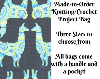 Llama Rama in Stream, Knitting Project Bag, Large Project Bag, Drawstring, Zippered, Sock Sack, Yarn Tote, Sock Project