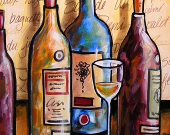 Wine art, abstract bottles...French Accent -- 8 x 10 Glossy Print, great friend gift idea