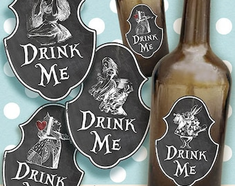 Alice in Wonderland Bottle Labels/ Digital Collage Sheet/printable/ INSTANT DOWNLOAD/storage