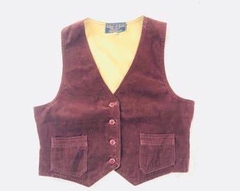 70's corduroy rust brown vest womens british