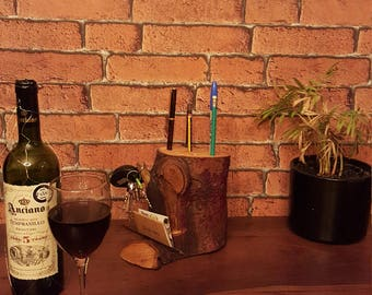 Desk Caddy Pen/Keys/Mail holder naturally sourced and handmade