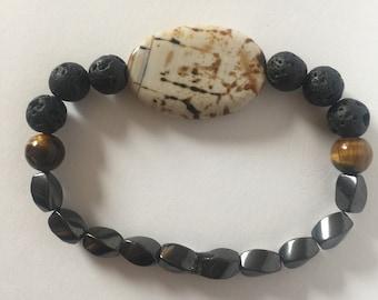 Agate, Tigers Eye, Hematite, Lava Diffuser Bracelet