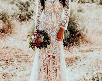 Bohemian Boho Sheer Embroidered Lace Sequins Long Sleeve Mermaid Hourglass WEDDING Maxi Dress Gown  W/ Train Saldana Vintage Elopement