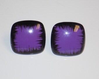 Vintage Square Purple & Black Post Earrings