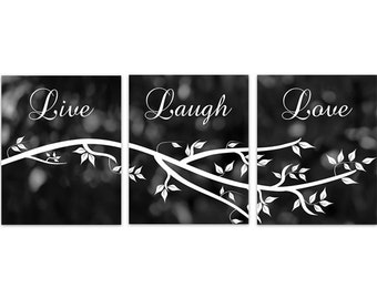 Instant Download Home Quote Art, Live Laugh Love, Black and White Bedroom Wall Art, Printable Kitchen Decor Art - HOME139