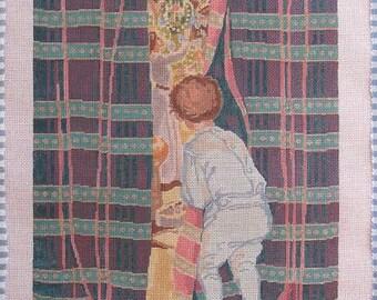 Caught in the Act Christmas Peeking Handpainted Needlepoint No 16 Canvas  Theodora DMC MATCH