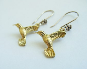 Bird brass earrings sterling silver hook-Hummingbird metalwork earrings