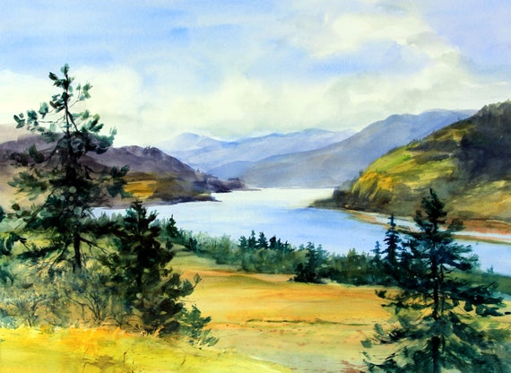 Columbia Gorge 383 - signed watercolor print - Bonnie White - Columbia Gorge - Columbia River - National Scenic Area - watercolor painting
