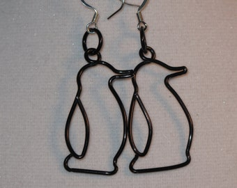 Wire Wrapped Penguin Earrings MADE to ORDER