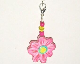 Pink Flower Zipper Pull - Purse Charm - Handmade Polymer Clay Bead