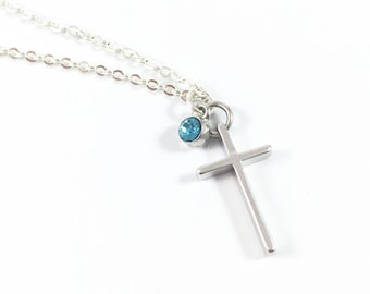 Simple Cross Necklace, Silver Cross Necklace, Birthstone Cross Necklace for Women, Christian Jewelry Religious Jewelry, Sympathy Gift Memory