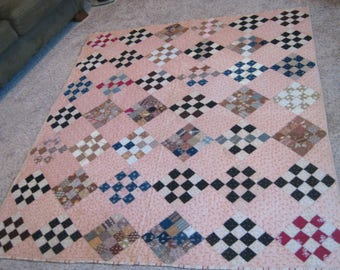 Vintage Hand Sewn Patchwork Quilt Diamond Design Shabby Farm House 75 x 65