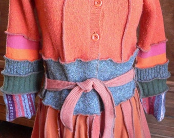Reconstructed Hooded Sweater Coat - Sunset - Size Small-Medium - CLEARANCE