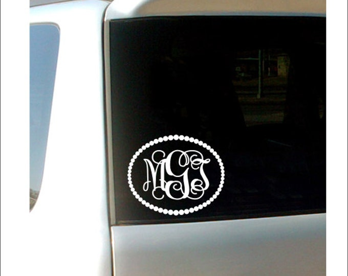 Monogram car decal vine monogram pearl border vinyl decal personalized car decal preppy girly southern custom
