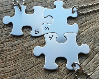 Puzzle Piece  Initials only Hand Stamped Necklaces -Choose Your Quantity- Best Friends, Birthdays, Graduation-SHIPS NEXT DAY