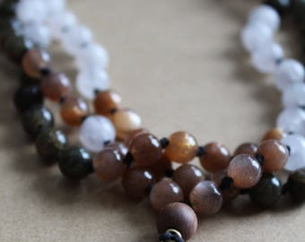 Om Mala Necklace  - Sunstone, Rose Quartz & Labradorite