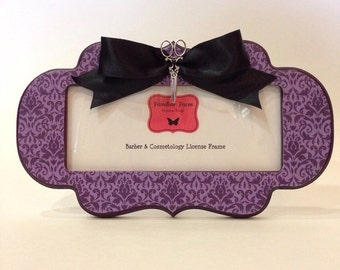 """Barber & Cosmetology License Frame purple plum damask print black bow silver shears fits 8 1/2"""" x 3 5/8"""" business certificatioxn"""
