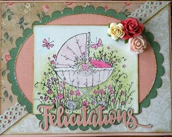 """""""Congratulations"""" baby girl card"""