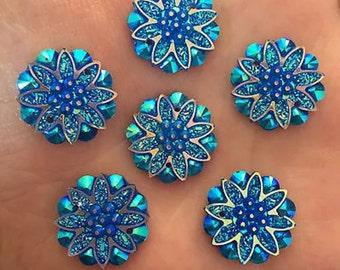 Turquoise Sew-on Flatbacks 5 pcs   U13