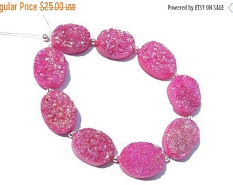 Summer Sale 10 Pcs Very Beautiful Natural Pink Titanium Coated Druzy Oval Shaped Beads Druzy Oval Beads Size 16X12 MM