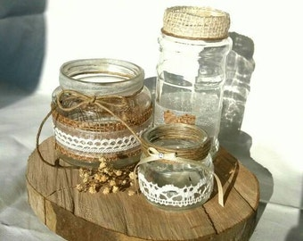 Natural wood slices of wood risers, parts of trunk, wooden discs, rustic wedding centerpiece