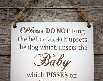 Sleeping Baby, Pisses off the Mom, Baby Sign, Nursery Sign, Baby Decor, Nursery Decor, Baby Shower Gift, Baby Sleeping, Do Not Disturb Sign