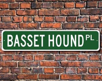 Basset Hound, Basset Hound Gift, Basset Hound Sign, Dog Lover Gift, Custom Street Sign, Quality Metal Sign,