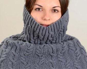 Hooded Scarf Knitting Pattern PDF