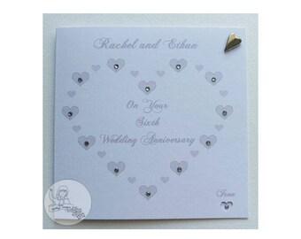 Handmade Personalised Sixth Wedding Anniversary Card Iron 6th Heart Marriage Gift