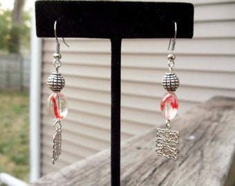 Red swirl bead and silver finding Dangle Earrings