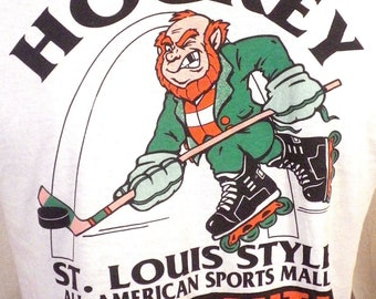 vtg 90s soft thin St Patricks Day Roller Hockey Tournament T-Shirt Irish sz M