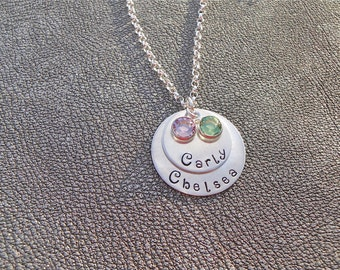 Personalized Name Layered Necklace Hand Stamped Sterling Silver layered with Swarovski Birthstone Crystals - Gifts for Mom - Mother's Day