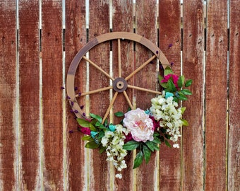 Wagon Wheel, Front Door Wreath, Farmhouse, Rustic, Spring, Summer, Cowgirl, Housewarming, Gift Idea, Floral, Wheel, Wooden, Wooden Wheel