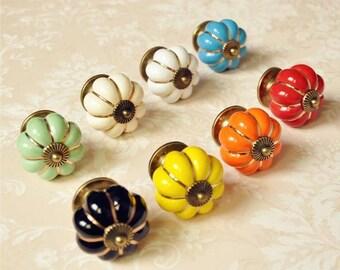 Attractive Pumpkin Ceramic Knobs / Dresser Knob Drawer / Ceramic Knob / Cabinet Knobs  / Kitchen Door