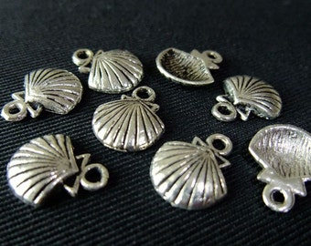 Destash (10) Sea Clam Oyster Shell Charms - for pendants, jewelry making, crafts, scrapbooking