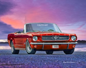 Auto Art, 1965 Mustang Convertible, Pony Car, Hot Rod Art, Muscle Car, Car Art, AA105