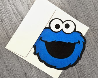 Cookie monster head etsy cookie monster thank you cards cookie monster thank you cookie monster party cookie bookmarktalkfo Choice Image