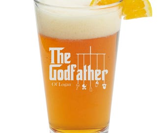 Personalized Godfather Gift, Pint Glass, Beer Glass ,Will You Be My Godfather Gift, Baptism Gift, For The Godfather, Godparents