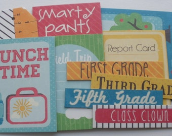 GRADE SCHOOL - Journal Cards - Chipboard Die Cuts - Picture Card, Tags & Quote Embellishments - 14 Pieces