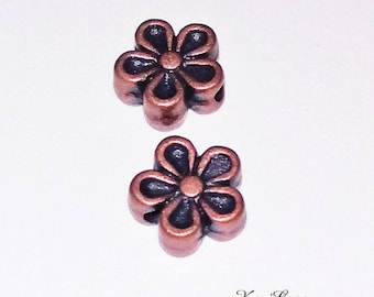 25 x mod4 flower copper metal beads
