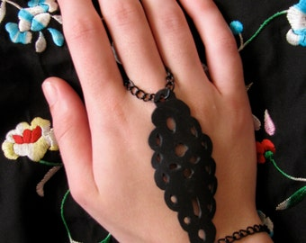 Recycled bicycle tire ring bracelet, Black Lacey Bohemian ring bracelet,  elegant ring/bracelet