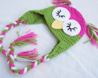 Baby Girl Sleepy Owl Laplander Hat - 0 to 3 Months, 3 to 6 Months, 6 to 12 Months - Hot Pink, Green - Animal, Hoot, Nighttime, Woodland